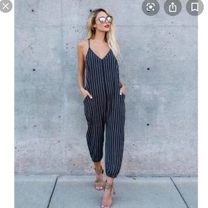 Vici Collection Finders Keepers Striped Jumpsuit